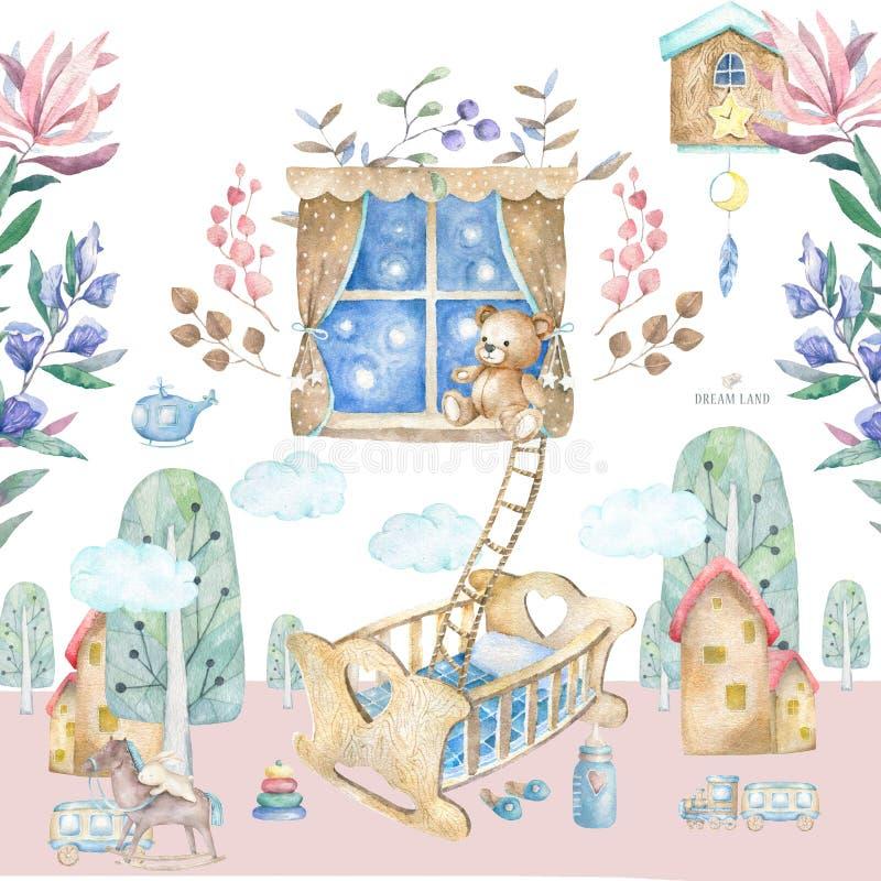 Het binnenland van de babyruimte De Babyruimte van de waterverf vastgestelde illustratie met een venster, plank, speelgoed, wieg, royalty-vrije illustratie