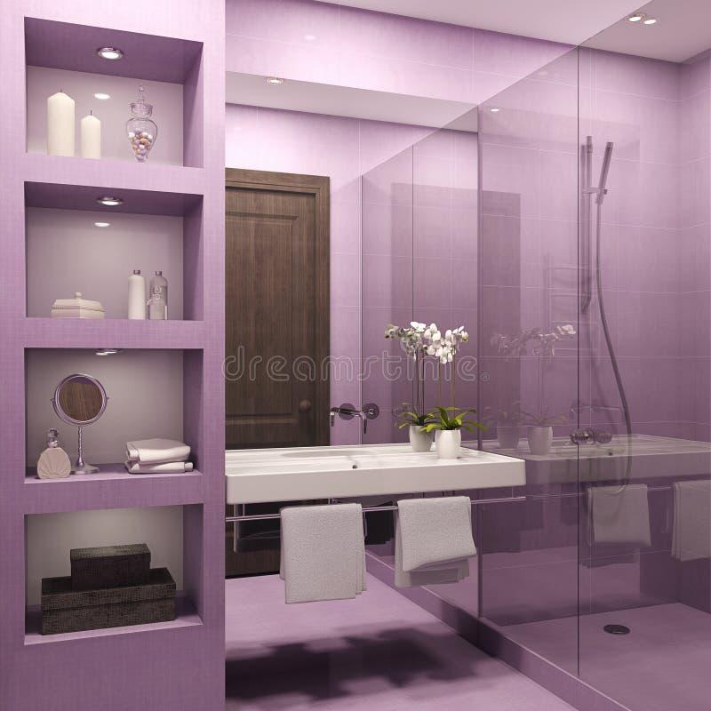 Het binnenland van de badkamers. stock illustratie
