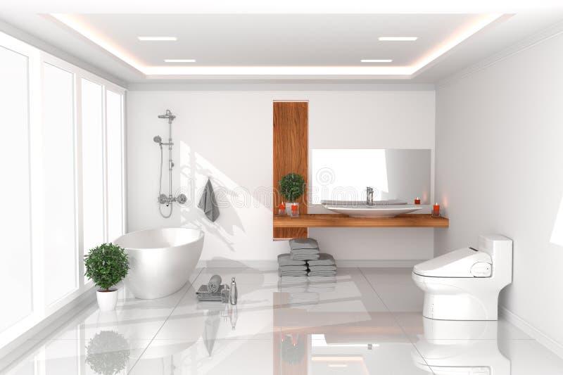 Het Binnenland van de badruimte - wit leeg ruimteconcept - moderne stijl, badkamers, nieuw ruimte modern ontwerp het 3d teruggeve royalty-vrije illustratie