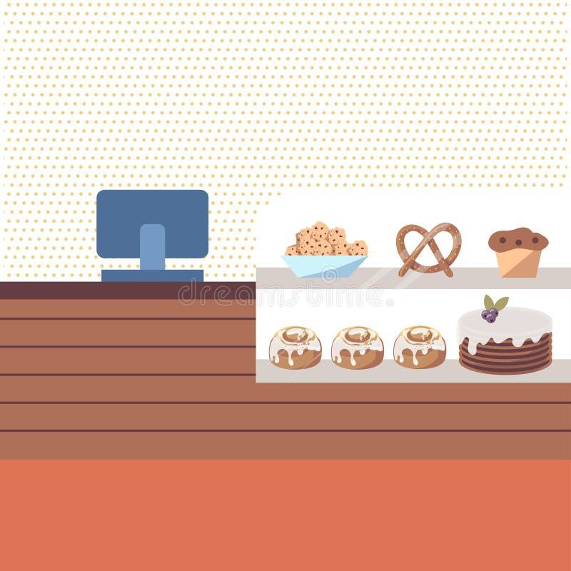Het binnenland van de bakkerijwinkel met bruin teller en showcasehoogtepunt van gebakjes, zoete cakes en koekjes Gebakjeopslag Ve stock illustratie