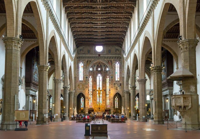 Het binnenland van de Basiliek van Santa Croce in Florence, Italië royalty-vrije stock foto's