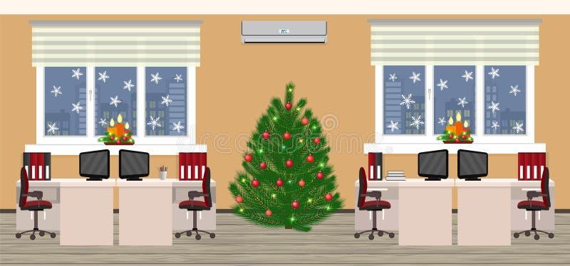 Het binnenland van de bureauruimte in Kerstmisontwerp met twee het werkruimten bij avond vóór Kerstmis Vakantievooravond in bedri vector illustratie