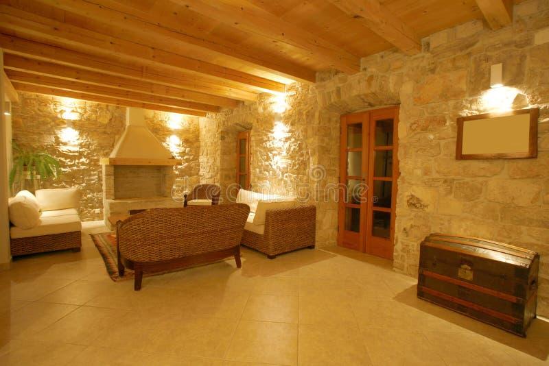 Het binnenland van de de steenvilla van de luxe royalty-vrije stock afbeelding