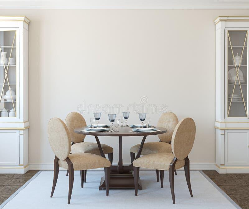 Het binnenland van de eetkamer royalty-vrije illustratie