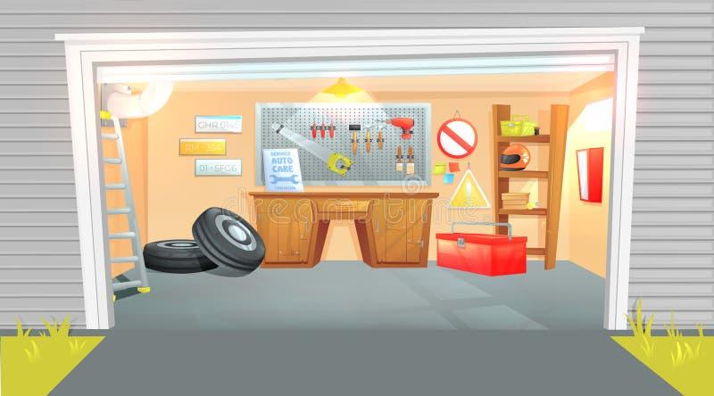 Het binnenland van de garage Werkplaats van de meester op autoreparatie met werkende hulpmiddelen Vector beeldverhaalillustratie vector illustratie