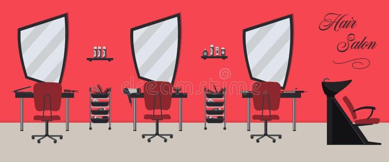 Het binnenland van de haarsalon in een rode en zwarte kleur De salon van de schoonheid royalty-vrije illustratie