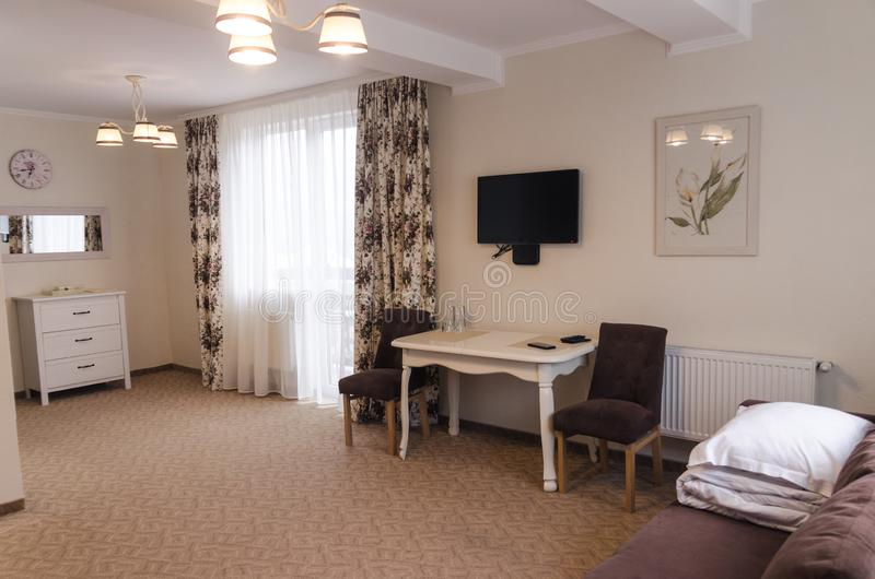 Het binnenland van de hotelruimte royalty-vrije stock afbeelding
