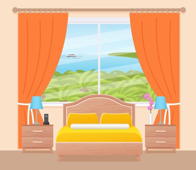 Het binnenland van de hotelruimte met oceaanlandschapsvenster Vectorillustra stock illustratie