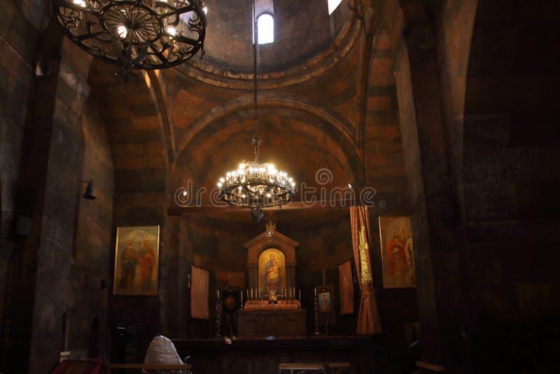 Het binnenland van de kerk van de Heilige Moeder van God, Surb Astvatzatzin, in Khor Virap, Armenië royalty-vrije stock afbeeldingen