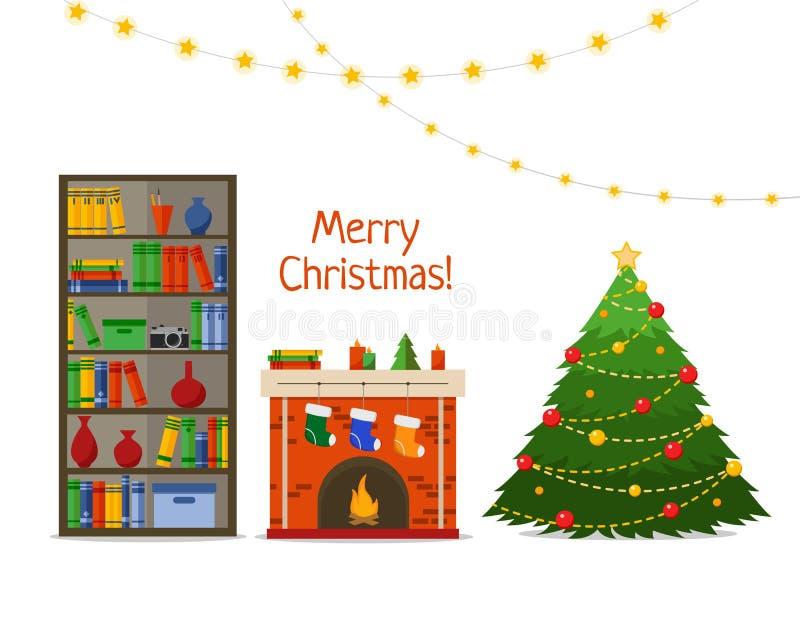 Het binnenland van de Kerstmisruimte Kerstboom en open haard met giften, sokken in bibliotheek, Vlakke stijl vectorillustratie vector illustratie
