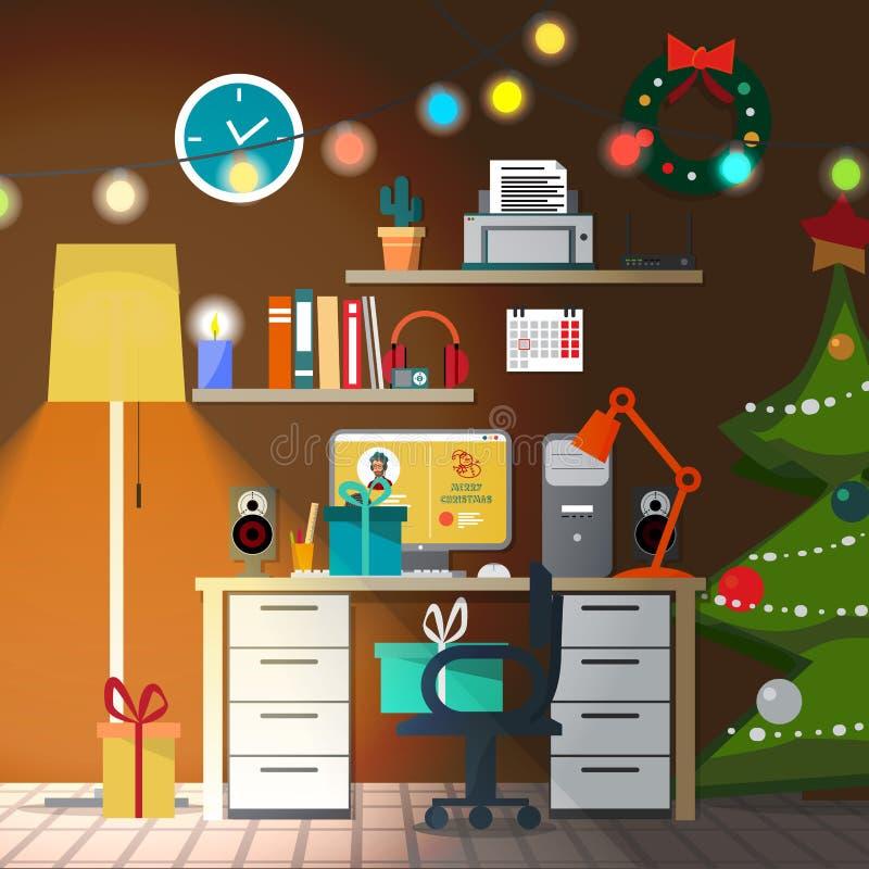 Het binnenland van de Kerstmisruimte met lampekap stock illustratie