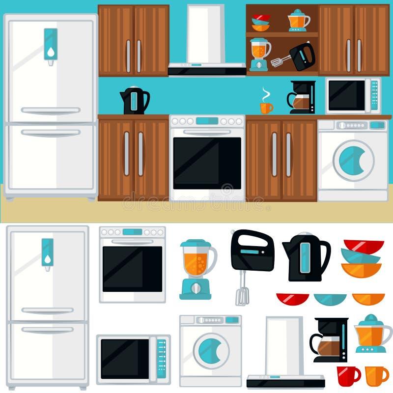 Het binnenland van de keukenruimte met meubilair vector illustratie