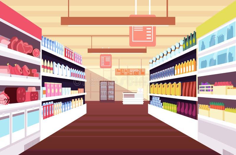 Het binnenland van de kruidenierswinkelsupermarkt met volledige productplanken Kleinhandels en consumentisme vectorconcept stock illustratie