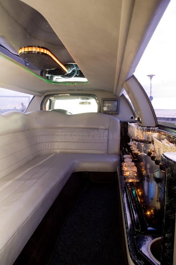 Het binnenland van de limousine stock foto