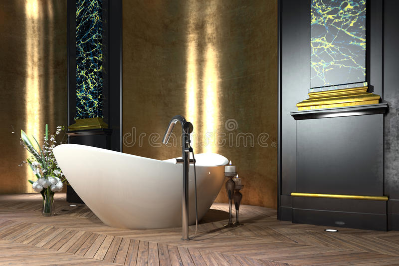 Het binnenland van de luxebadkamers in klassieke stijl vector illustratie