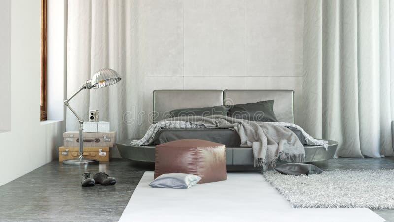 Het binnenland van de luxeslaapkamer met grijs decor vector illustratie