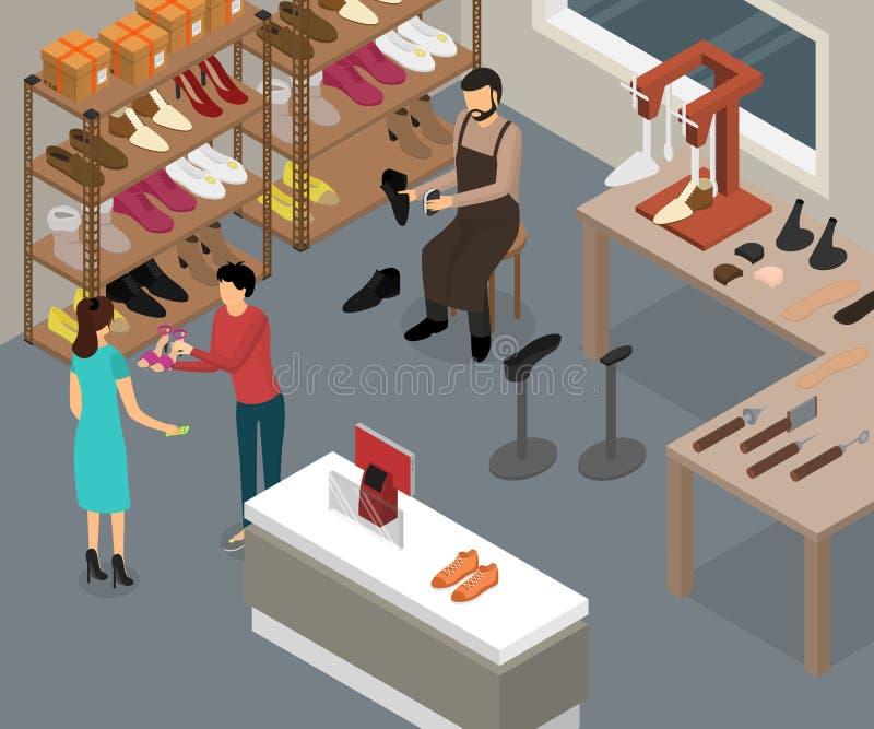 Het Binnenland van de schoenworkshop met Meubilair Isometrisch Weergeven Vector vector illustratie