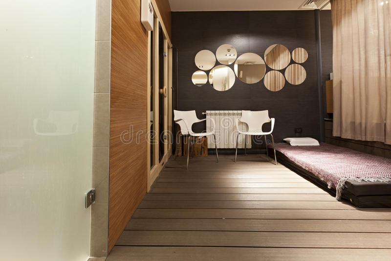 Het binnenland van de schoonheidssalon - Massagegebied royalty-vrije stock afbeelding