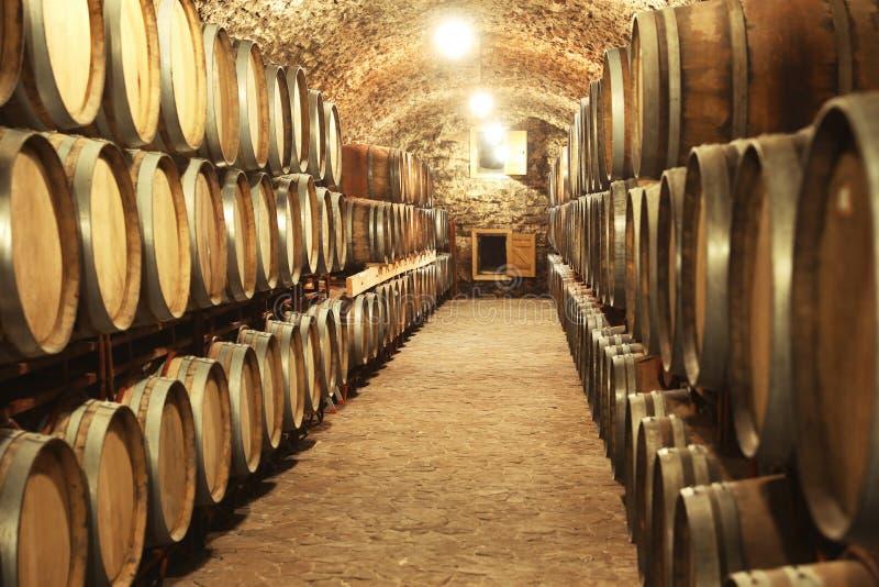 Het binnenland van de wijnkelder met grote vaten stock fotografie