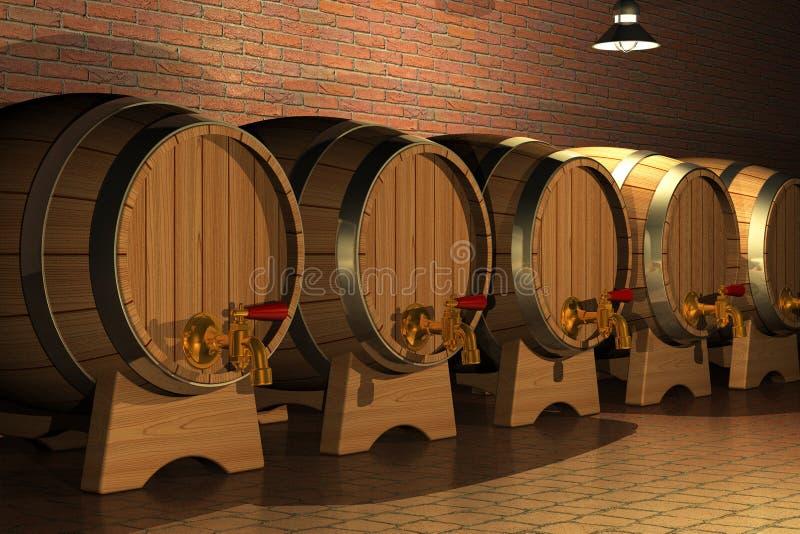 Het binnenland van de wijnmakerij royalty-vrije illustratie