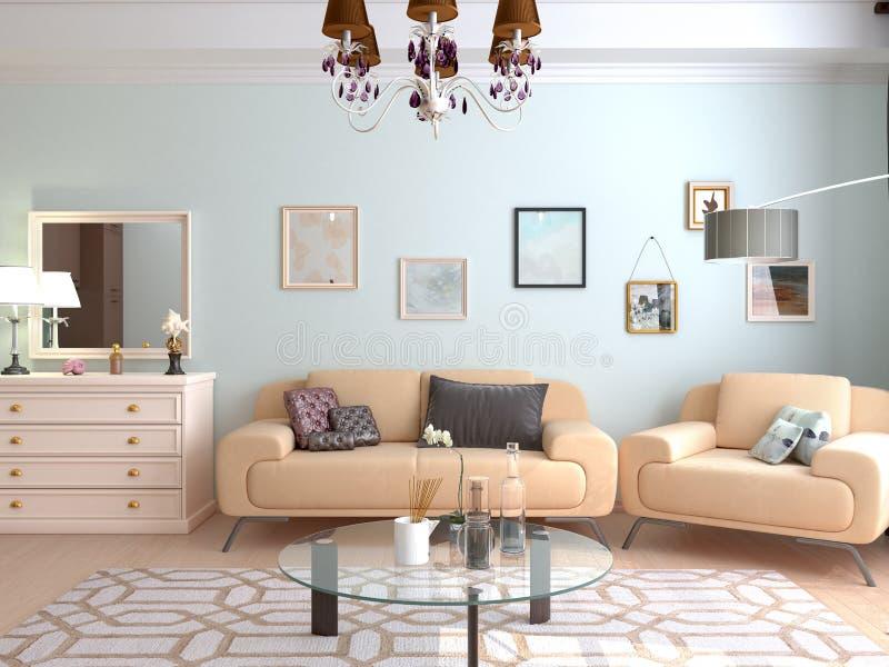 Het binnenland van de woonkamer vector illustratie