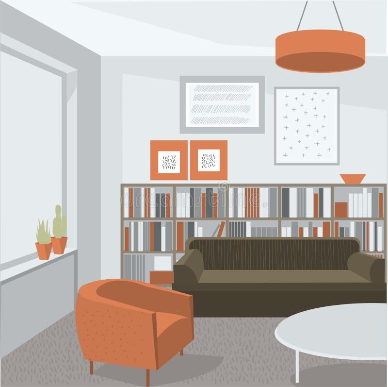 Het binnenland van de woonkamer Bank, leunstoel en boekenkast royalty-vrije illustratie