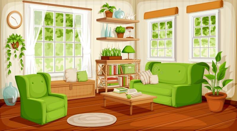 Het binnenland van de woonkamer Vector illustratie stock illustratie