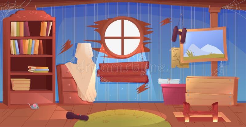 Het binnenland van de zolder Een oude vergeten ruimte met dozen op het dak Lamp en beelden en treden tot de bovenkant vector illustratie