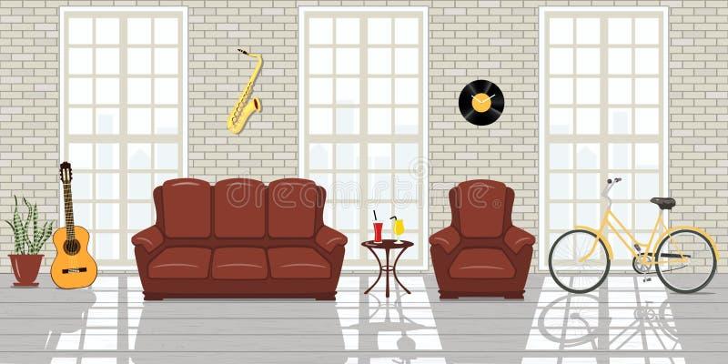 Het Binnenland van de zolderstudio Grote vensters, witte bakstenen muurruimte van de stijl van de musicuszolder vector illustratie