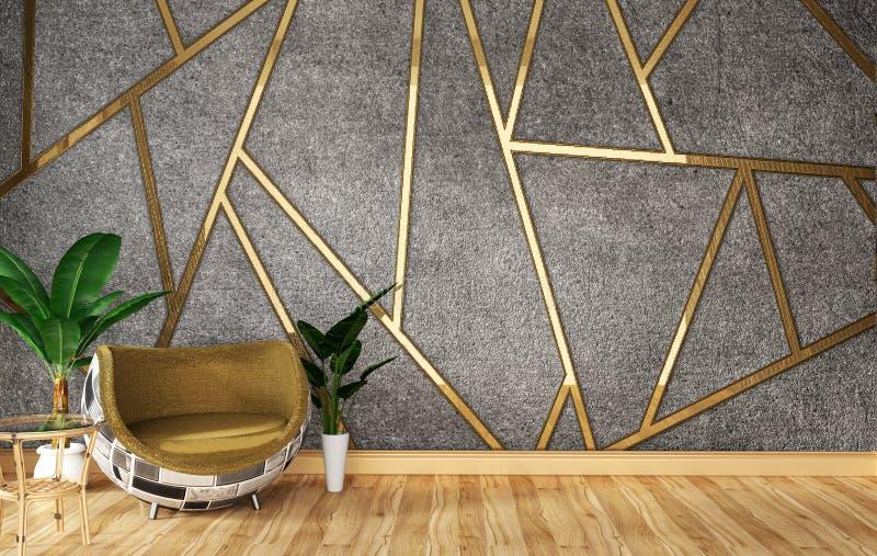 Het binnenland van de zolderwoonkamer met bank en groene installaties op de gouden concrete achtergrond van het muurafgietsel, mi stock illustratie