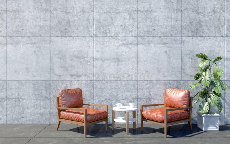 Het binnenland van de zolderwoonkamer met rode retro wapenstoel en koffietafel en decoratieve installaties royalty-vrije stock foto's