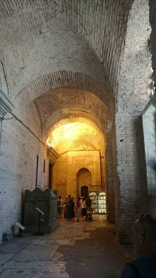 Het binnenland van Hagiasophia in Istanboel Turkije - architectuurachtergrond stock fotografie