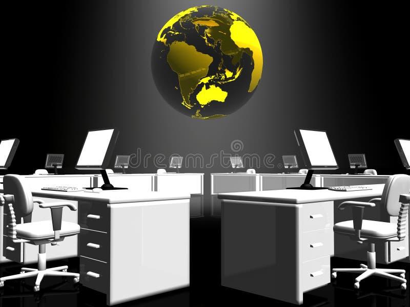 Het binnenland van het bureau, Internet. royalty-vrije illustratie