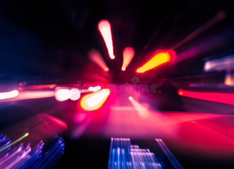 Het binnenland van het hoge snelheidsvoertuig met lichten in motie royalty-vrije stock afbeeldingen