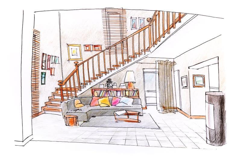 Het binnenland van het huis gekleurde hand getrokken schets van woonkamer vector illustratie