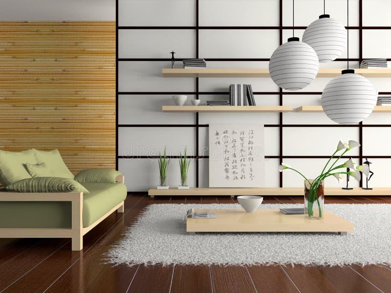 Het binnenland van het huis in Japanse stijl stock illustratie