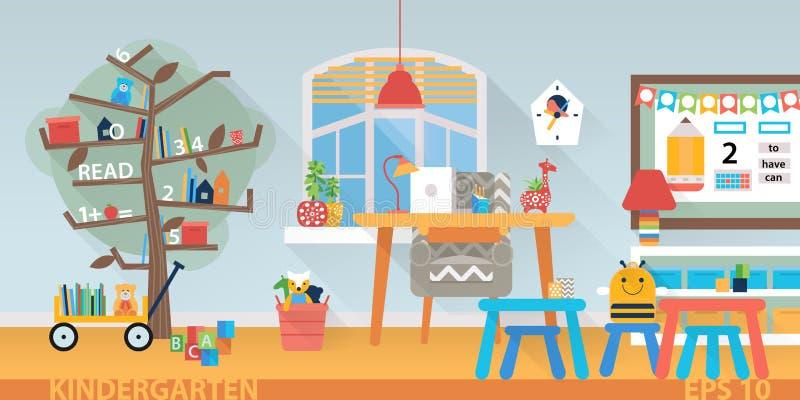 Het binnenland van het kleuterschoolonderwijs Het leren en studieplaats horizontale achterbanner royalty-vrije illustratie