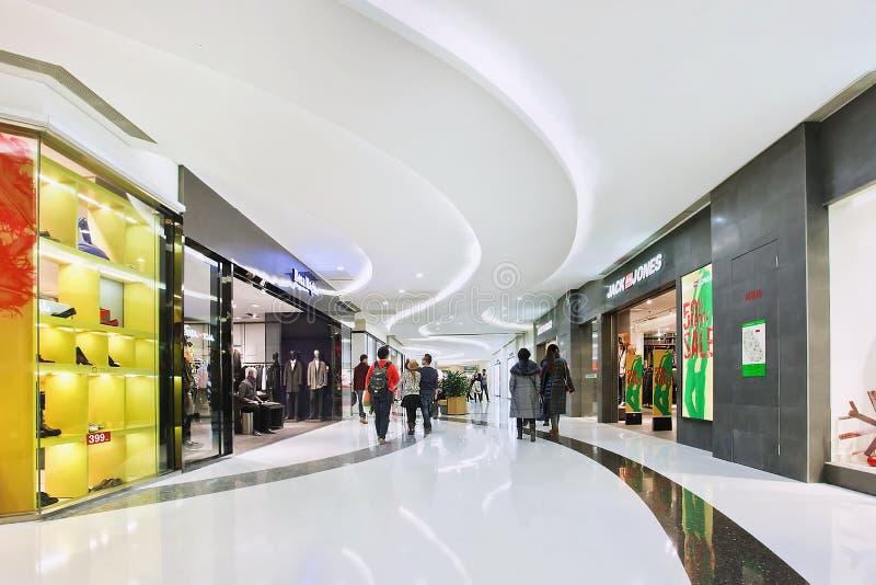 Het binnenland van het luxewinkelcomplex, Peking, China royalty-vrije stock afbeeldingen