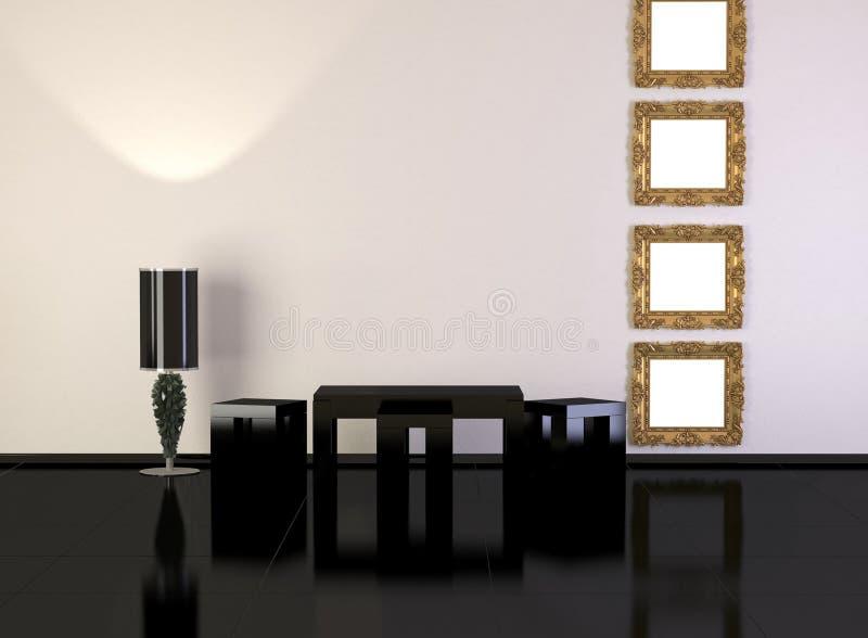 Het binnenland van het ontwerp van elegantie moderne woonkamer royalty-vrije illustratie