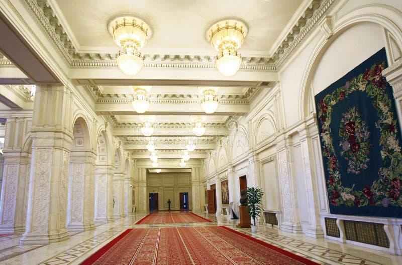 Het Binnenland van het Paleis van het Parlement van Roemenië stock afbeelding