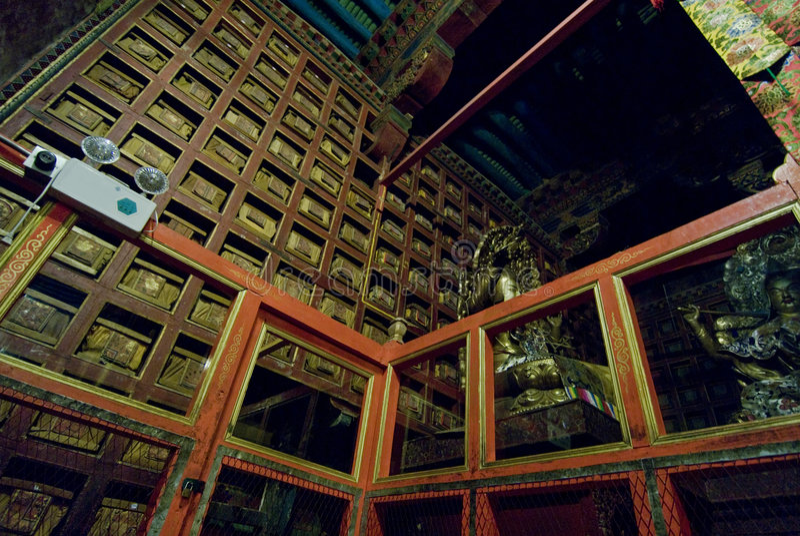 Het binnenland van het Paleis van Potala   stock afbeeldingen