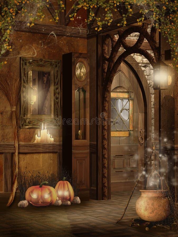 Het binnenland van het plattelandshuisje met de decoratie van Halloween royalty-vrije illustratie