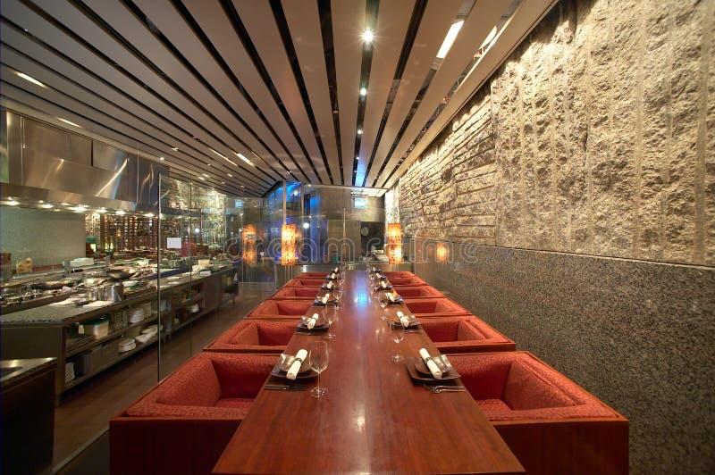 Het binnenland van het restaurant stock afbeeldingen