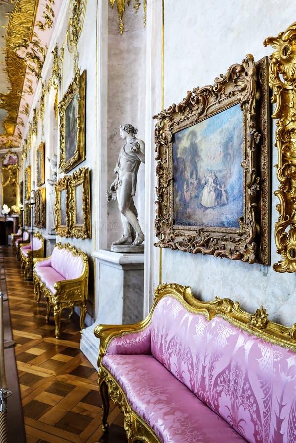 Het Binnenland van het Sanssoucipaleis, Potsdam, Duitsland stock foto's
