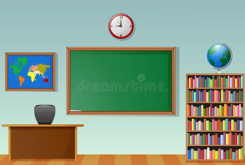 Het binnenland van het schoolklaslokaal met bord en leraarsbureau stock illustratie