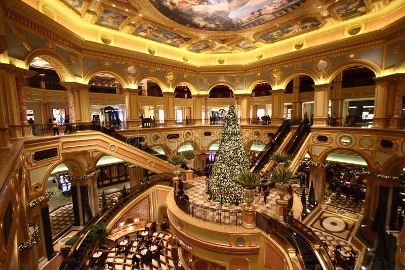 Het binnenland van het Venetiaanse Casino stock afbeeldingen