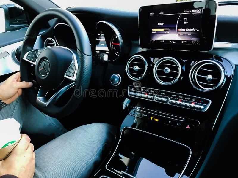 Het binnenland van Mercedes CLA royalty-vrije stock afbeelding