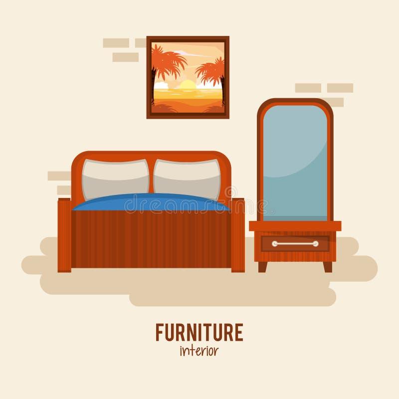 Het binnenland van het meubilairhuis vector illustratie
