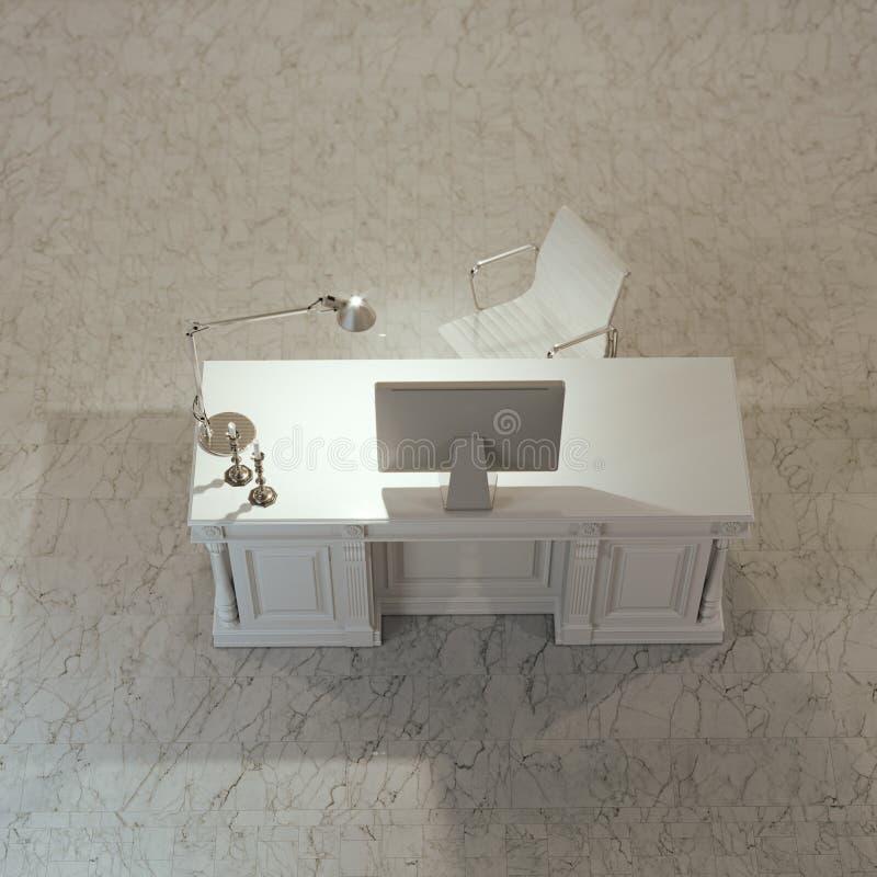 Het binnenland van het Minimalistic blogger bureau in witte ruimte met marmeren F royalty-vrije stock foto's