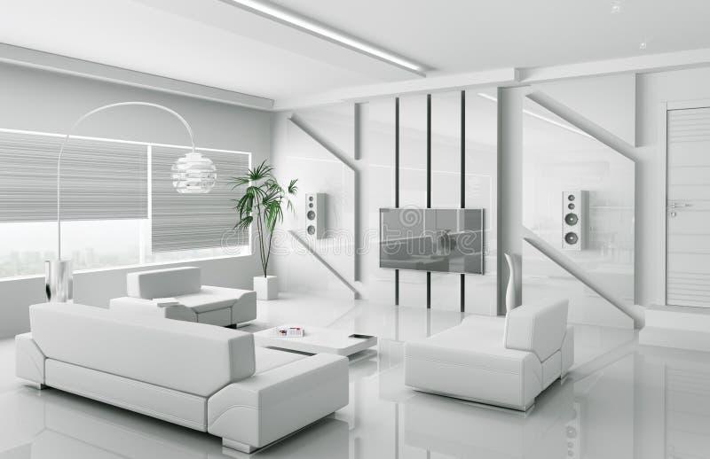 Moderne Witte Woonkamer Binnenlandse 3d Stock Illustratie ...